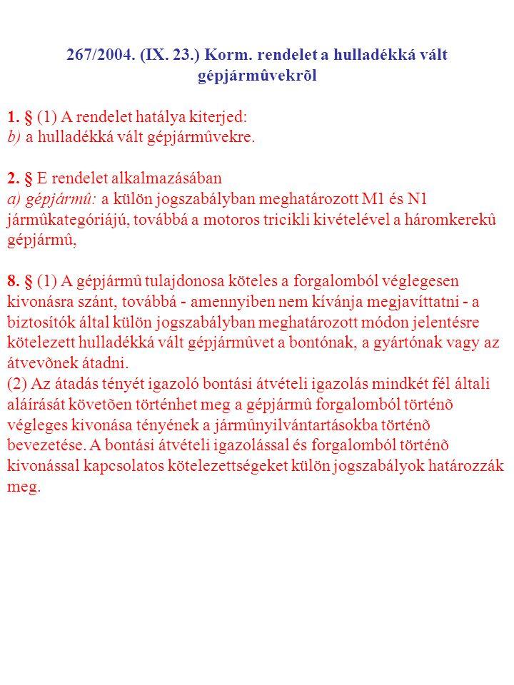267/2004.(IX. 23.) Korm. rendelet a hulladékká vált gépjármûvekrõl 1.