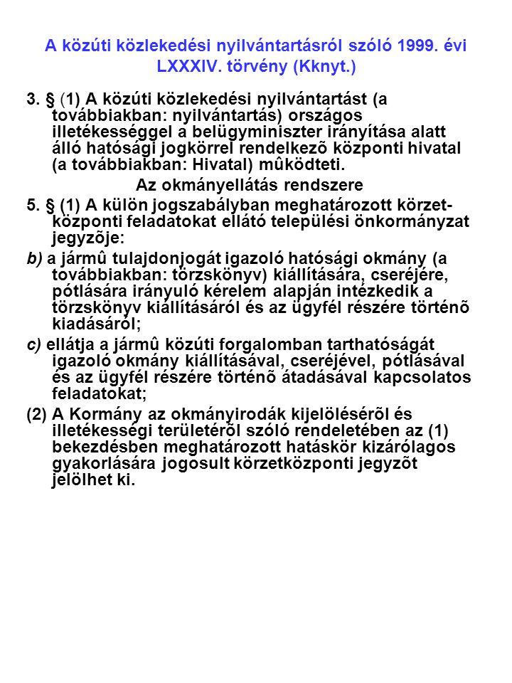 A közúti közlekedési nyilvántartásról szóló 1999.évi LXXXIV.