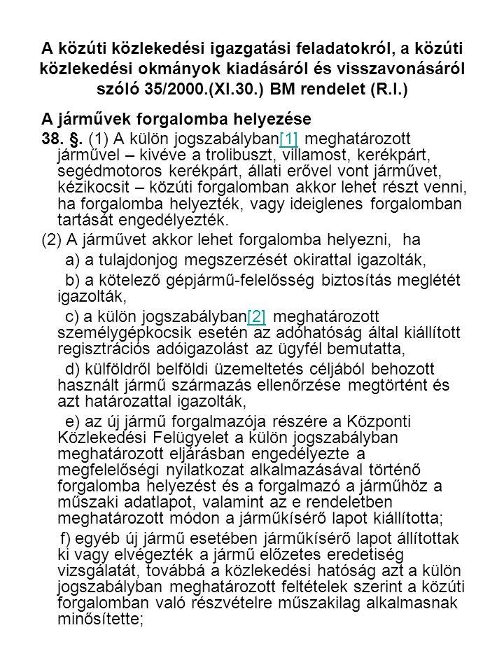A közúti közlekedési igazgatási feladatokról, a közúti közlekedési okmányok kiadásáról és visszavonásáról szóló 35/2000.(XI.30.) BM rendelet (R.I.) A