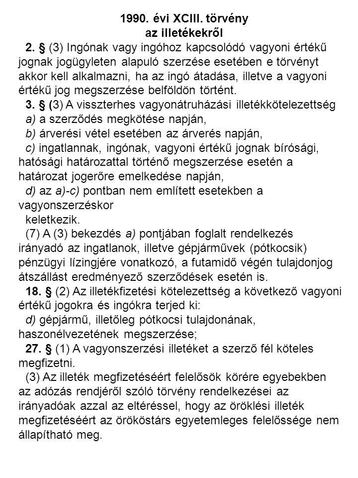 1990. évi XCIII. törvény az illetékekről 2. § (3) Ingónak vagy ingóhoz kapcsolódó vagyoni értékű jognak jogügyleten alapuló szerzése esetében e törvén
