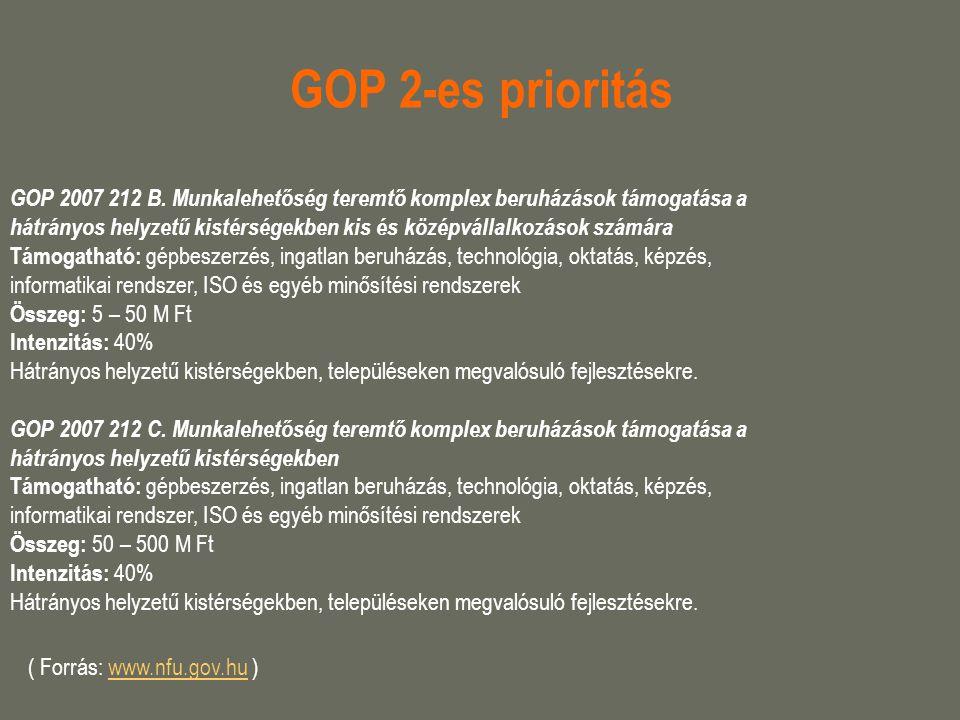 GOP 2-es prioritás GOP 2007 212 B. Munkalehetőség teremtő komplex beruházások támogatása a hátrányos helyzetű kistérségekben kis és középvállalkozások