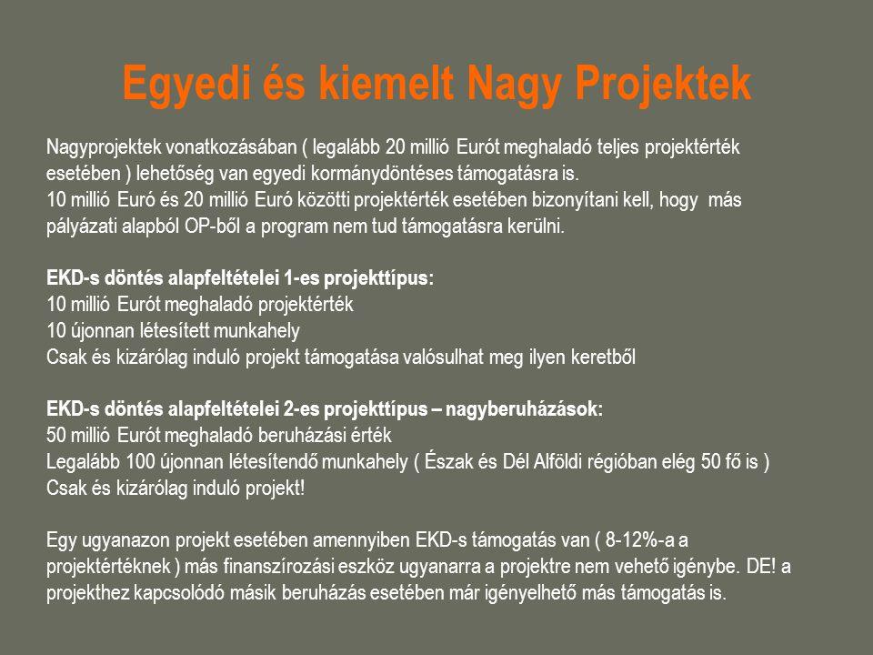 Egyedi és kiemelt Nagy Projektek Nagyprojektek vonatkozásában ( legalább 20 millió Eurót meghaladó teljes projektérték esetében ) lehetőség van egyedi