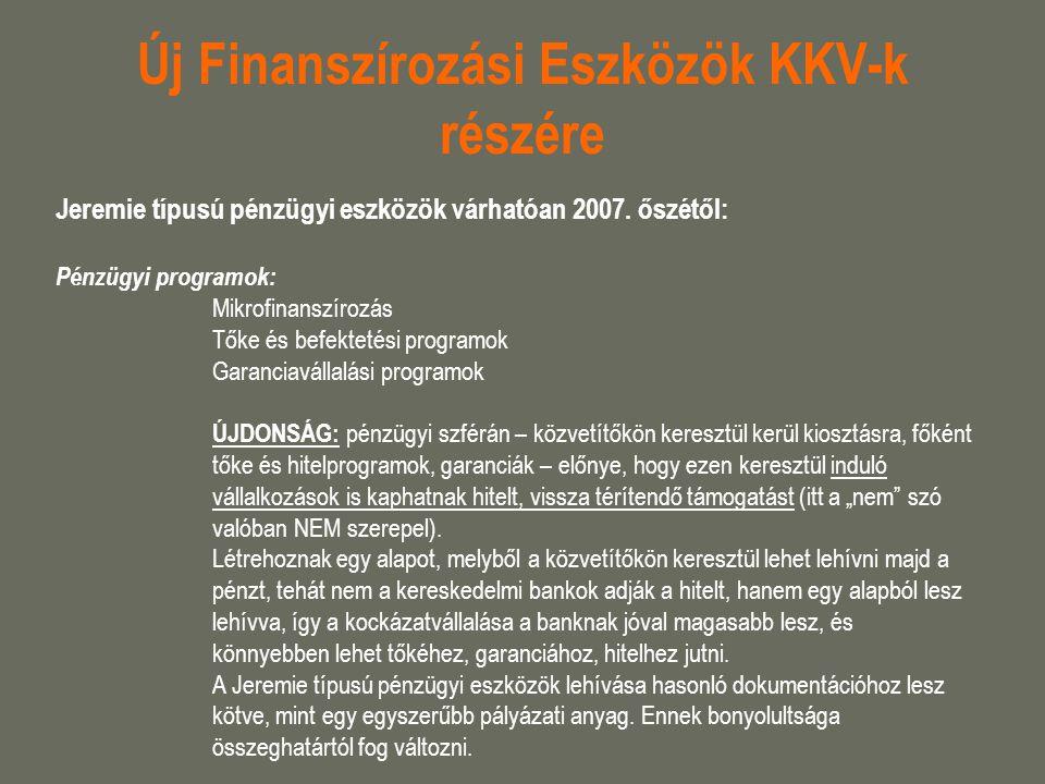 Új Finanszírozási Eszközök KKV-k részére Jeremie típusú pénzügyi eszközök várhatóan 2007. őszétől: Pénzügyi programok: Mikrofinanszírozás Tőke és befe
