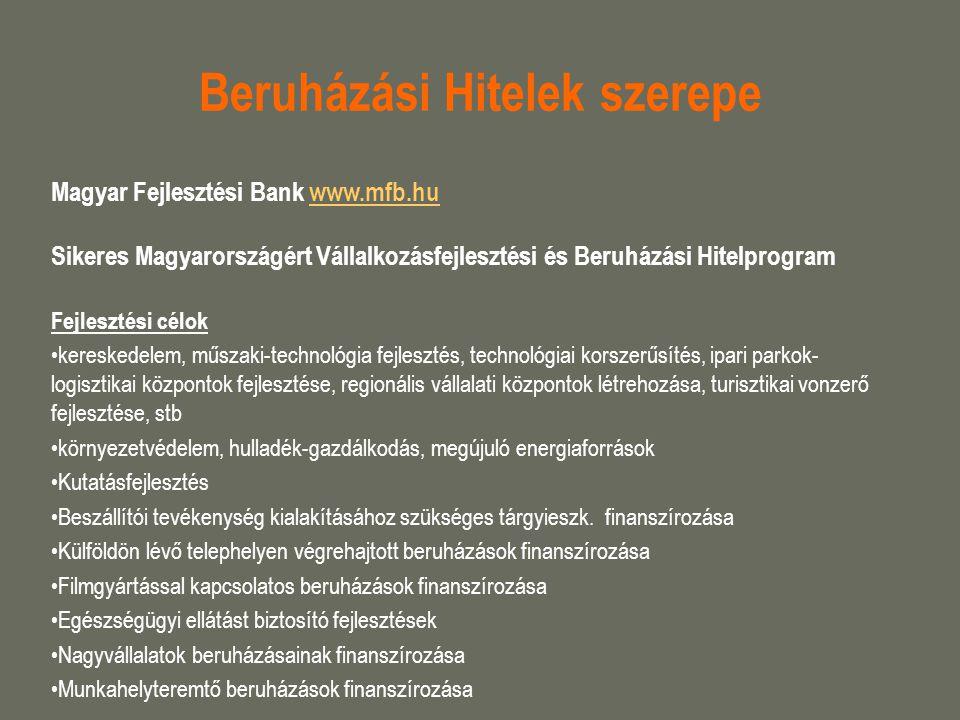 Beruházási Hitelek szerepe Magyar Fejlesztési Bank www.mfb.huwww.mfb.hu Sikeres Magyarországért Vállalkozásfejlesztési és Beruházási Hitelprogram Fejl