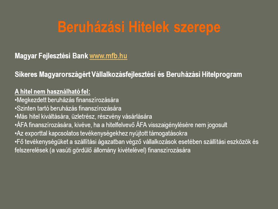 Beruházási Hitelek szerepe Magyar Fejlesztési Bank www.mfb.huwww.mfb.hu Sikeres Magyarországért Vállalkozásfejlesztési és Beruházási Hitelprogram A hi