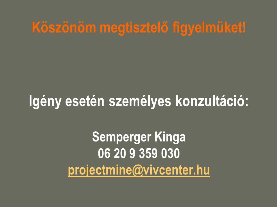 Köszönöm megtisztelő figyelmüket! Igény esetén személyes konzultáció: Semperger Kinga 06 20 9 359 030 projectmine@vivcenter.hu projectmine@vivcenter.h