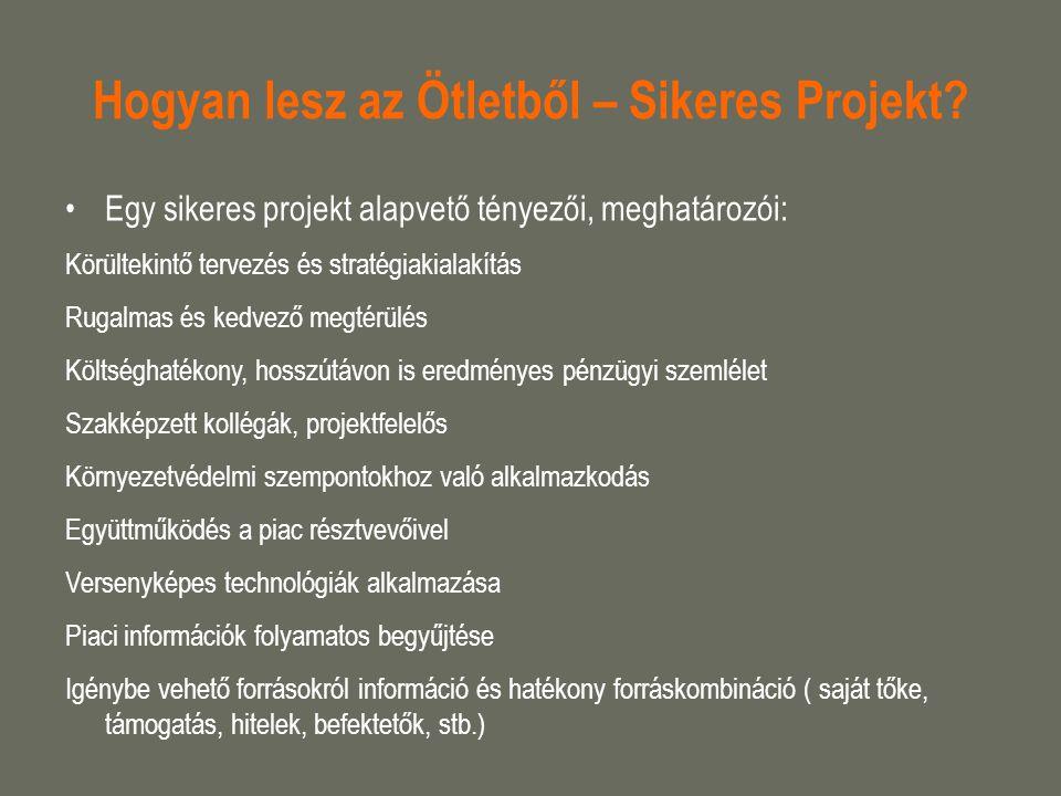 Hogyan lesz az Ötletből – Sikeres Projekt? Egy sikeres projekt alapvető tényezői, meghatározói: Körültekintő tervezés és stratégiakialakítás Rugalmas