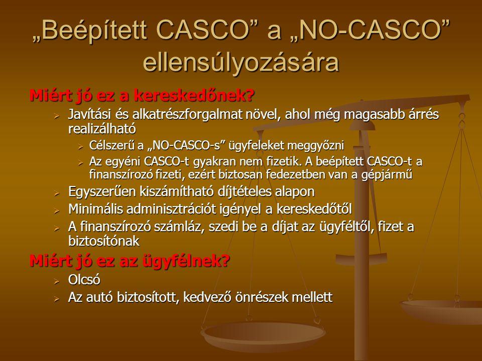 """""""Beépített CASCO"""" a """"NO-CASCO"""" ellensúlyozására Miért jó ez a kereskedőnek?  Javítási és alkatrészforgalmat növel, ahol még magasabb árrés realizálha"""