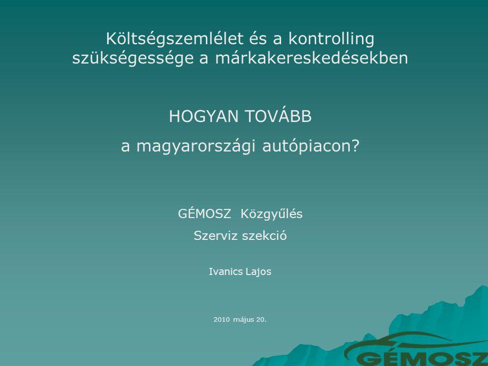 Költségszemlélet és a kontrolling szükségessége a márkakereskedésekben HOGYAN TOVÁBB a magyarországi autópiacon.