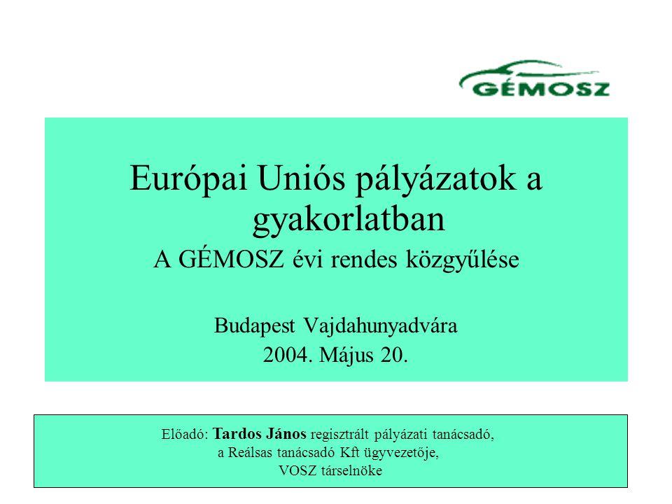 Európai Uniós pályázatok a gyakorlatban A GÉMOSZ évi rendes közgyűlése Budapest Vajdahunyadvára 2004.