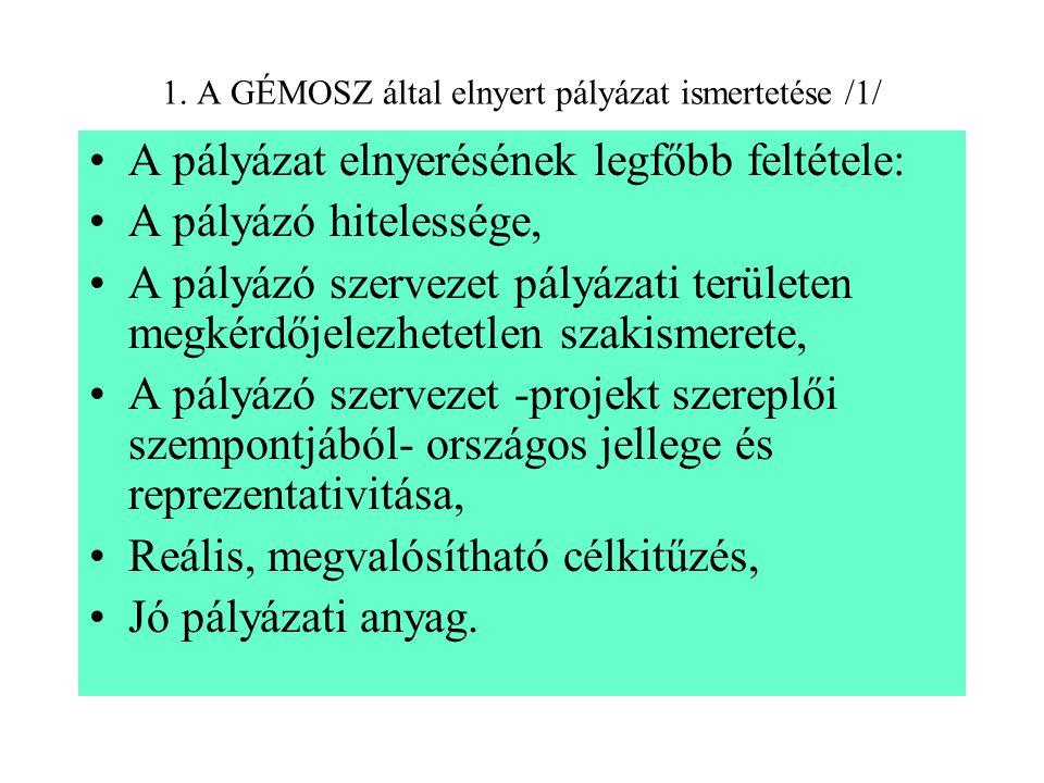 1. A GÉMOSZ által elnyert pályázat ismertetése /1/ A pályázat elnyerésének legfőbb feltétele: A pályázó hitelessége, A pályázó szervezet pályázati ter
