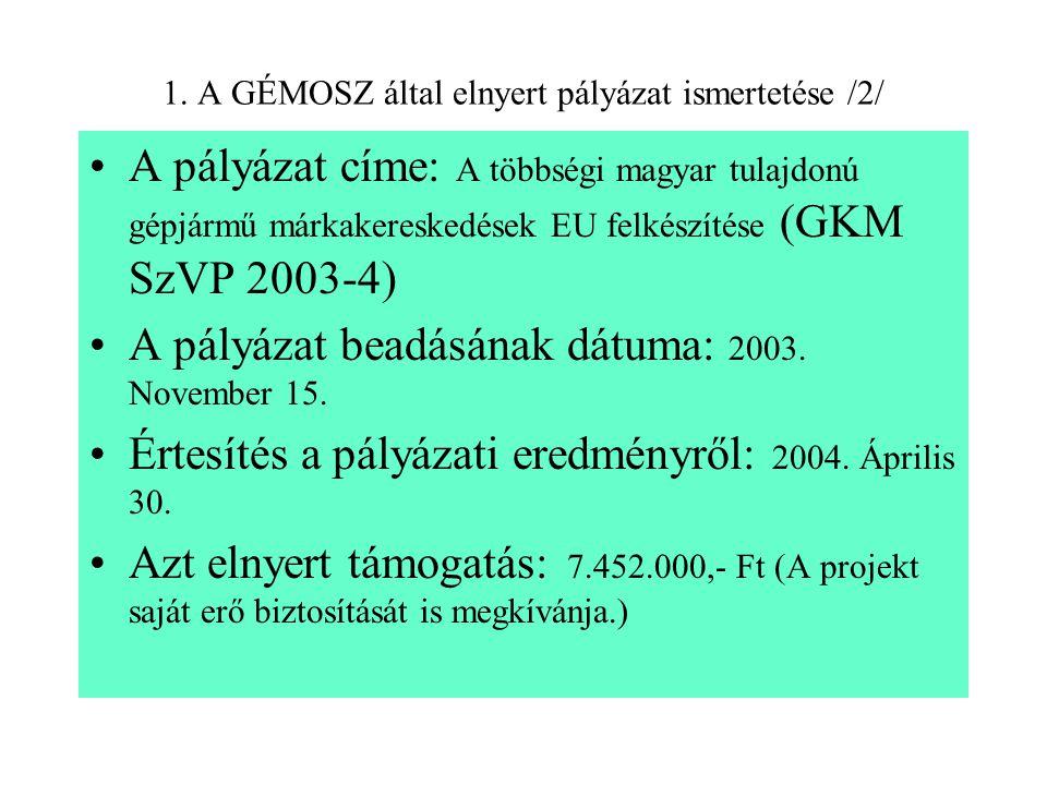 1. A GÉMOSZ által elnyert pályázat ismertetése /2/ A pályázat címe: A többségi magyar tulajdonú gépjármű márkakereskedések EU felkészítése (GKM SzVP 2