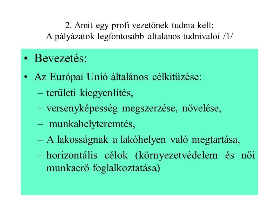 2. Amit egy profi vezetőnek tudnia kell: A pályázatok legfontosabb általános tudnivalói /1/ Bevezetés: Az Európai Unió általános célkitűzése: –terület
