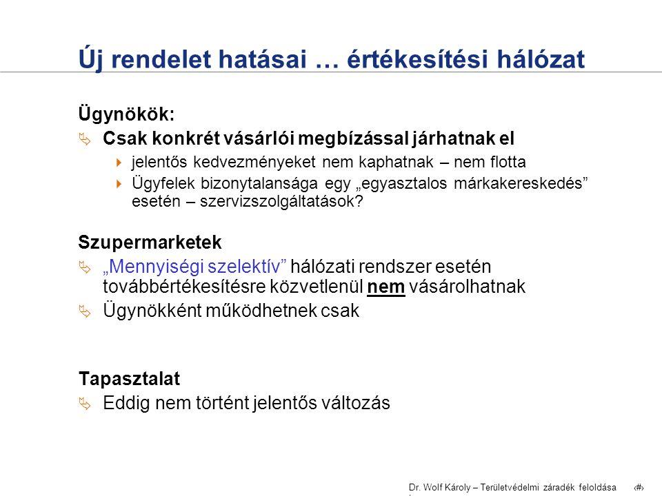 Dr. Wolf Károly – Területvédelmi záradék feloldása | 14 Új rendelet hatásai … értékesítési hálózat Ügynökök:  Csak konkrét vásárlói megbízással járha