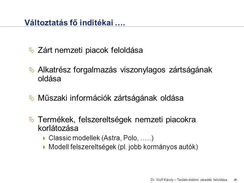 Dr.Wolf Károly – Területvédelmi záradék feloldása | 3 Változtatás fő indítékai ….