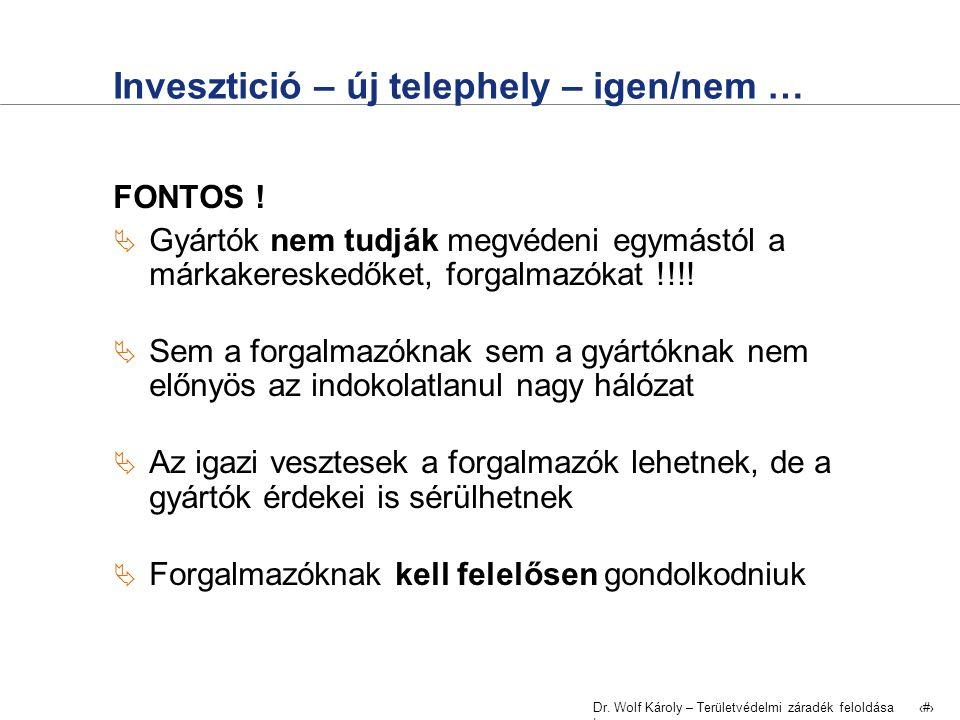 Dr. Wolf Károly – Területvédelmi záradék feloldása | 28 Invesztició – új telephely – igen/nem … FONTOS !  Gyártók nem tudják megvédeni egymástól a má