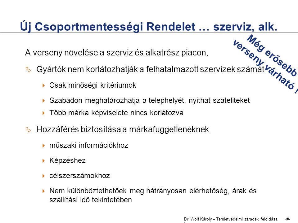 Dr. Wolf Károly – Területvédelmi záradék feloldása | 7 Új Csoportmentességi Rendelet … szerviz, alk. A verseny növelése a szerviz és alkatrész piacon,