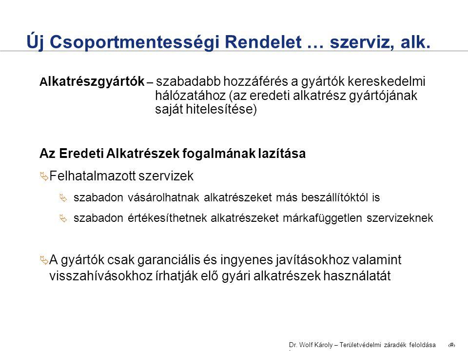 Dr. Wolf Károly – Területvédelmi záradék feloldása | 8 Új Csoportmentességi Rendelet … szerviz, alk. A lkatrészgyártók – szabadabb hozzáférés a gyártó