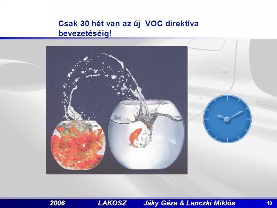 10 2006 LAKOSZ Jáky Géza & Lanczki Miklós Csak 30 hét van az új VOC direktíva bevezetéséig!