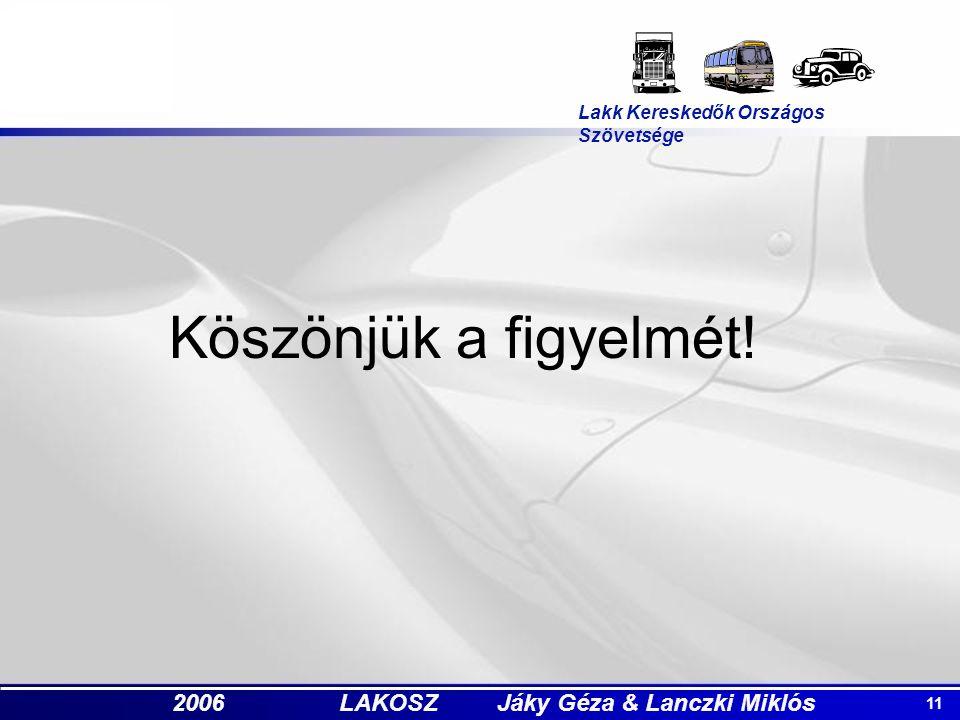 11 2006 LAKOSZ Jáky Géza & Lanczki Miklós Köszönjük a figyelmét.