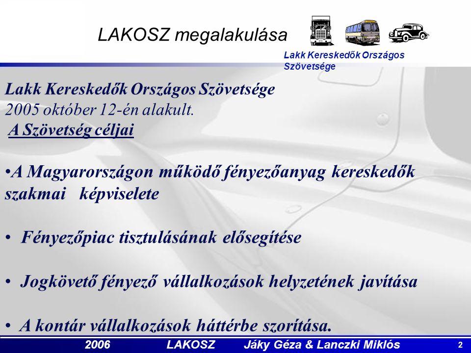 2 2006 LAKOSZ Jáky Géza & Lanczki Miklós LAKOSZ megalakulása Lakk Kereskedők Országos Szövetsége 2005 október 12-én alakult. A Szövetség céljai A Magy