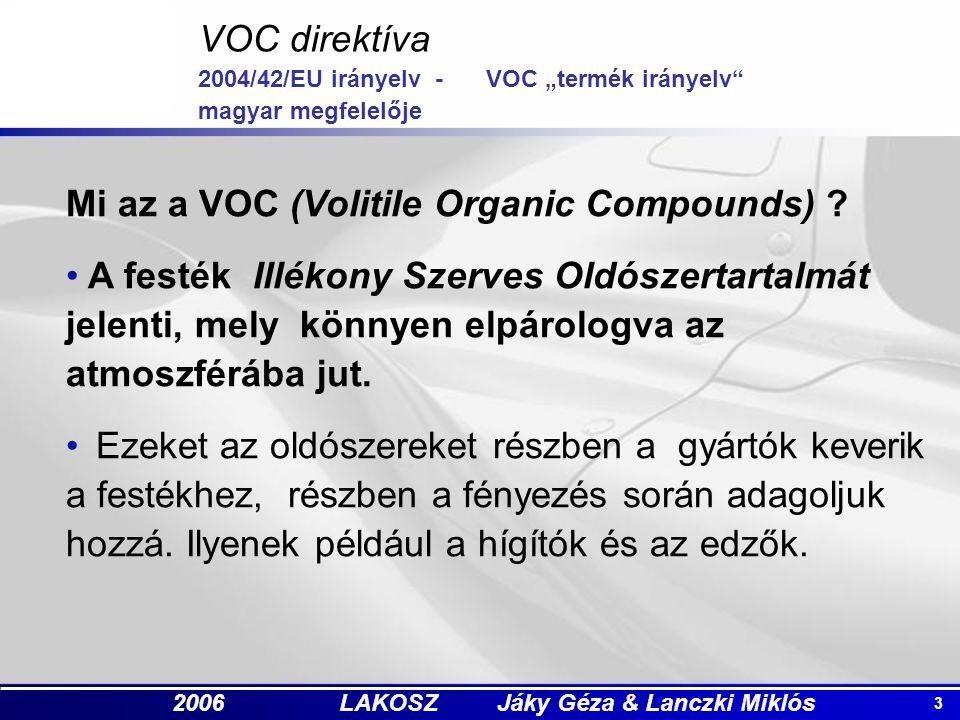 """3 2006 LAKOSZ Jáky Géza & Lanczki Miklós VOC direktíva 2004/42/EU irányelv -VOC """"termék irányelv magyar megfelelője Mi az a VOC (Volitile Organic Compounds) ."""