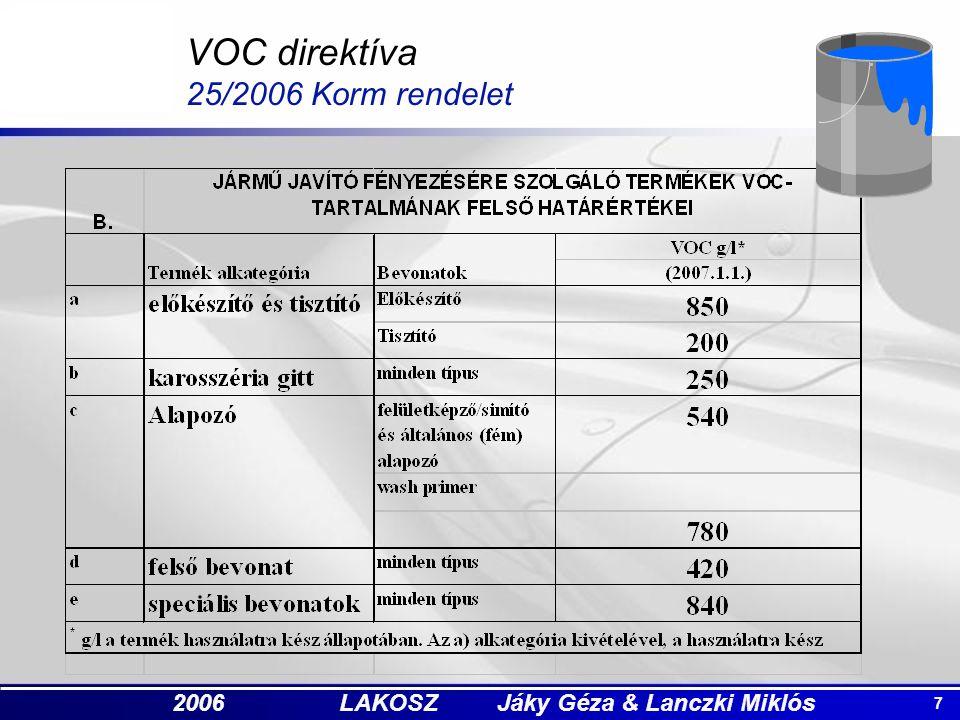 7 2006 LAKOSZ Jáky Géza & Lanczki Miklós VOC direktíva 25/2006 Korm rendelet