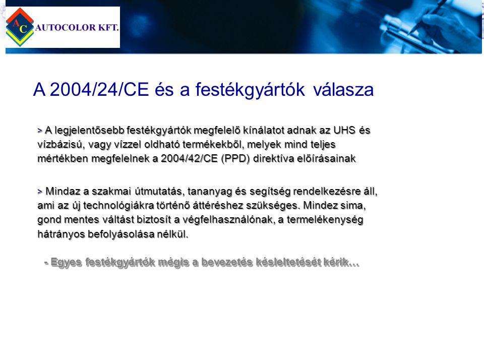 A 2004/24/CE és a festékgyártók válasza > > A legjelentősebb festékgyártók megfelelő kínálatot adnak az UHS és vízbázisú, vagy vízzel oldható termékek