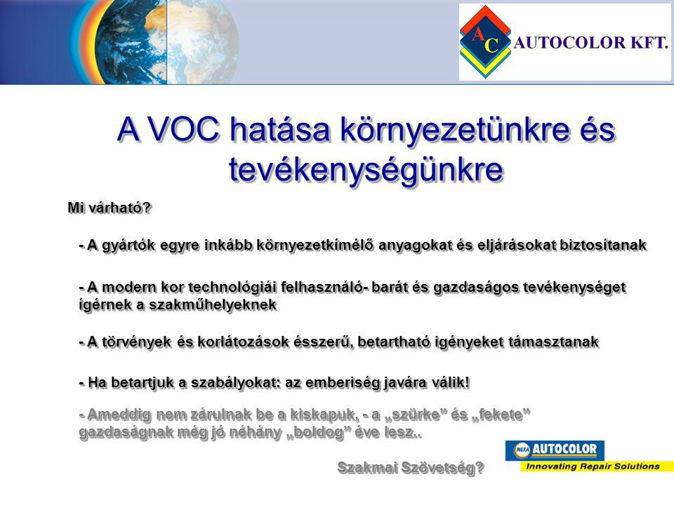 A VOC hatása környezetünkre és tevékenységünkre Mi várható? - A gyártók egyre inkább környezetkímélő anyagokat és eljárásokat biztosítanak - A modern