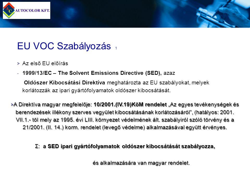 EU VOC Szabályozás 1 > > Az első EU előírás - - 1999/13/EC – The Solvent Emissions Directive (SED), azaz Oldószer Kibocsátási Direktíva meghatározta a