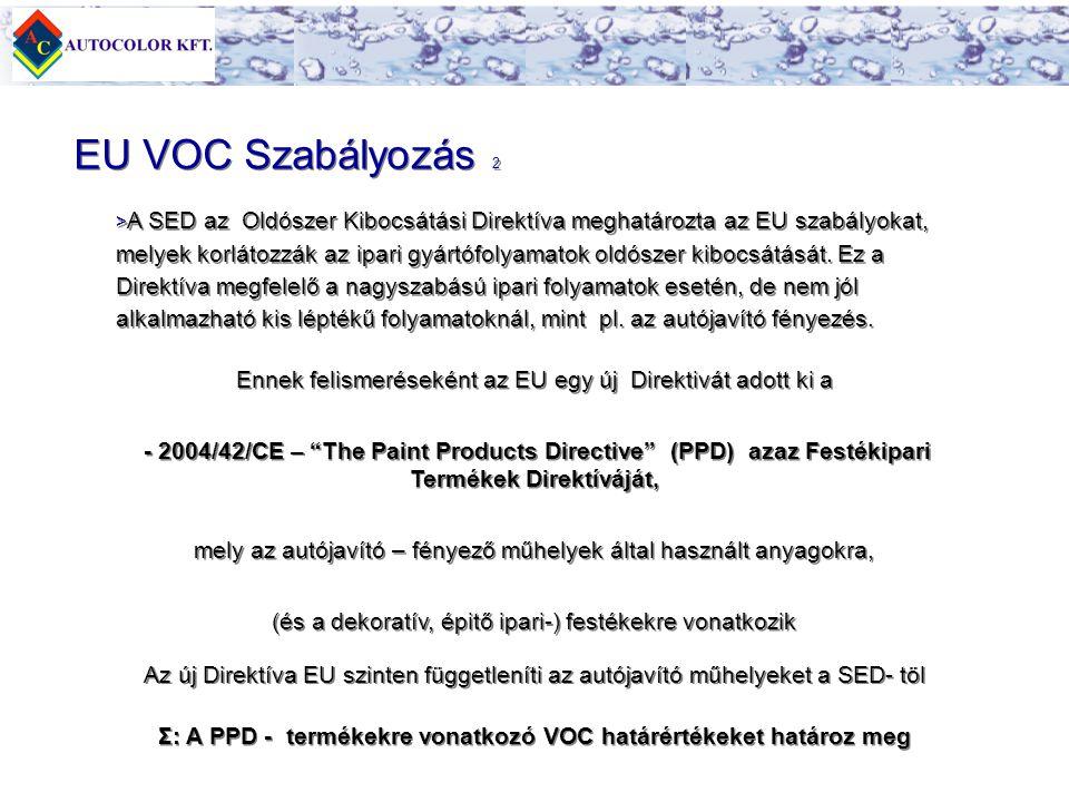 > > A SED az Oldószer Kibocsátási Direktíva meghatározta az EU szabályokat, melyek korlátozzák az ipari gyártófolyamatok oldószer kibocsátását. Ez a D