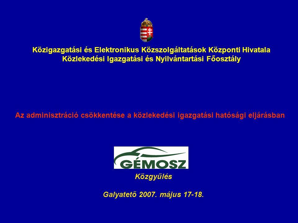 Közigazgatási és Elektronikus Közszolgáltatások Központi Hivatala Közlekedési Igazgatási és Nyilvántartási Főosztály Az adminisztráció csökkentése a k
