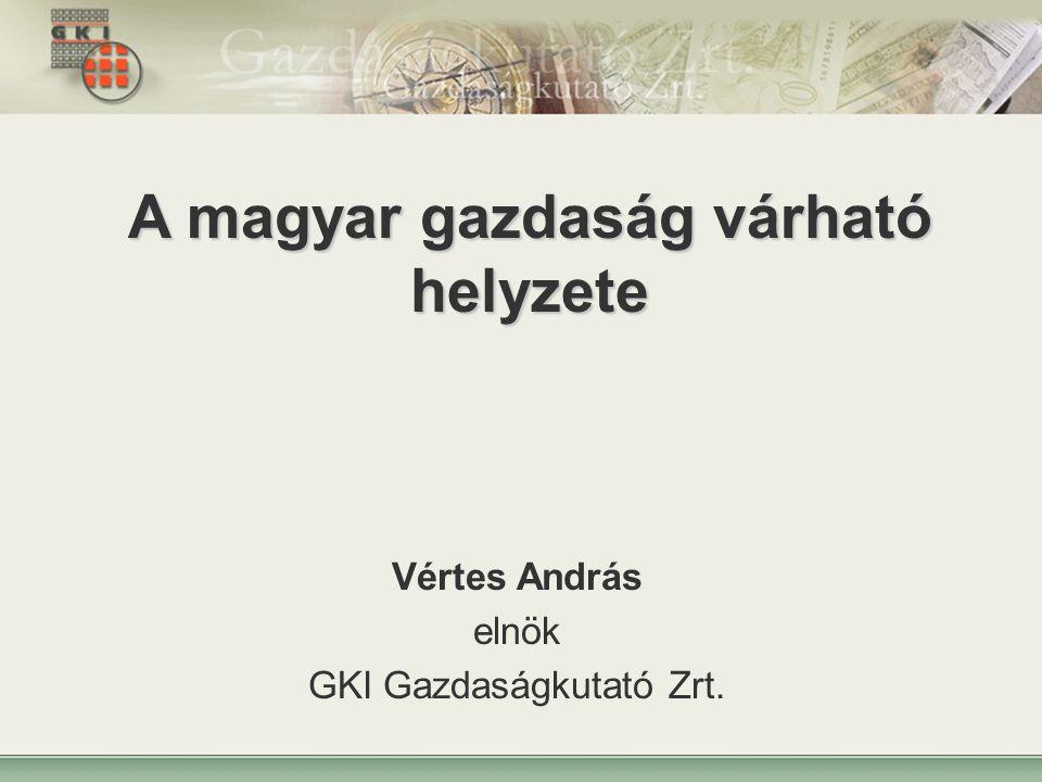 1 A magyar gazdaság várható helyzete Vértes András elnök GKI Gazdaságkutató Zrt.