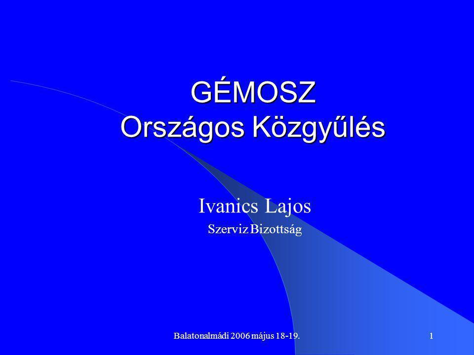 Balatonalmádi 2006 május 18-19.1 GÉMOSZ Országos Közgyűlés Ivanics Lajos Szerviz Bizottság