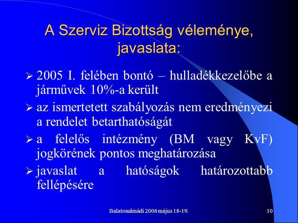 Balatonalmádi 2006 május 18-19.10 A Szerviz Bizottság véleménye, javaslata:  2005 I.