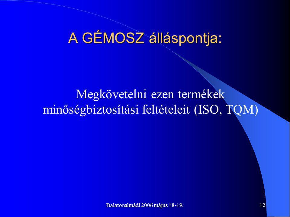 Balatonalmádi 2006 május 18-19.12 A GÉMOSZ álláspontja: Megkövetelni ezen termékek minőségbiztosítási feltételeit (ISO, TQM)