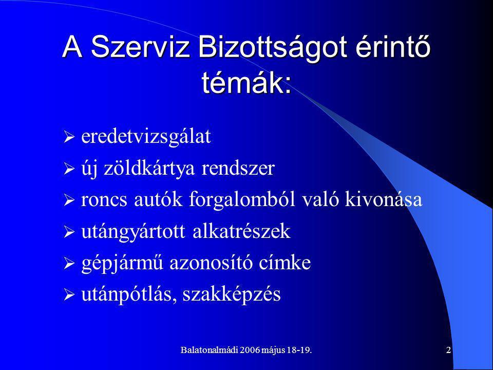 Balatonalmádi 2006 május 18-19.2 A Szerviz Bizottságot érintő témák:  eredetvizsgálat  új zöldkártya rendszer  roncs autók forgalomból való kivonása  utángyártott alkatrészek  gépjármű azonosító címke  utánpótlás, szakképzés