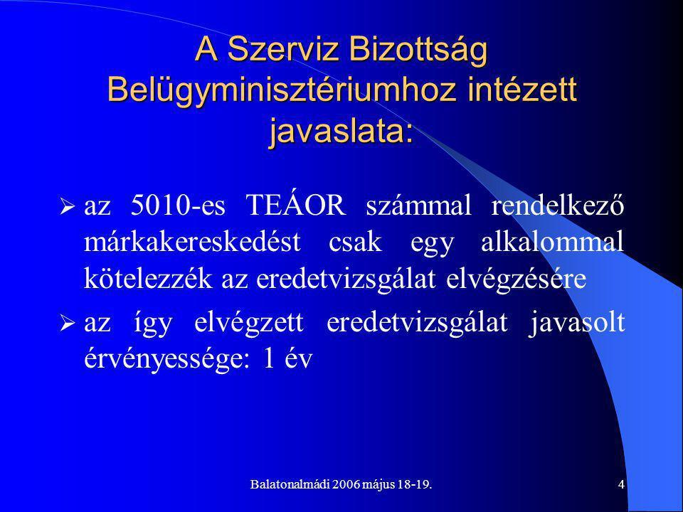 Balatonalmádi 2006 május 18-19.4 A Szerviz Bizottság Belügyminisztériumhoz intézett javaslata:  az 5010-es TEÁOR számmal rendelkező márkakereskedést csak egy alkalommal kötelezzék az eredetvizsgálat elvégzésére  az így elvégzett eredetvizsgálat javasolt érvényessége: 1 év
