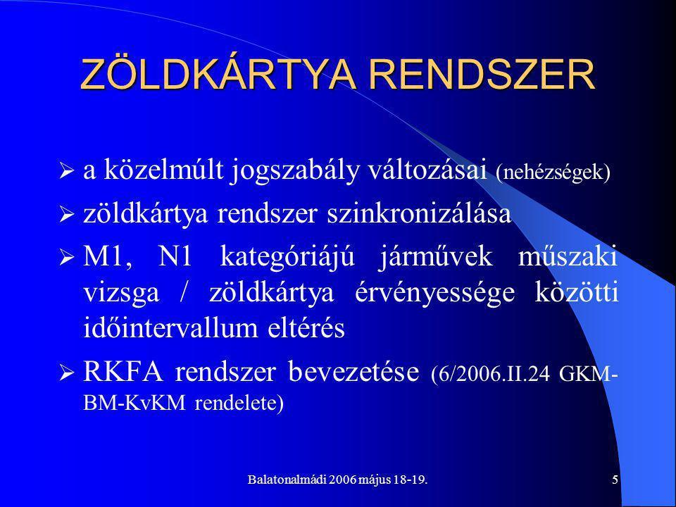 Balatonalmádi 2006 május 18-19.5 ZÖLDKÁRTYA RENDSZER  a közelmúlt jogszabály változásai (nehézségek)  zöldkártya rendszer szinkronizálása  M1, N1 kategóriájú járművek műszaki vizsga / zöldkártya érvényessége közötti időintervallum eltérés  RKFA rendszer bevezetése (6/2006.II.24 GKM- BM-KvKM rendelete)