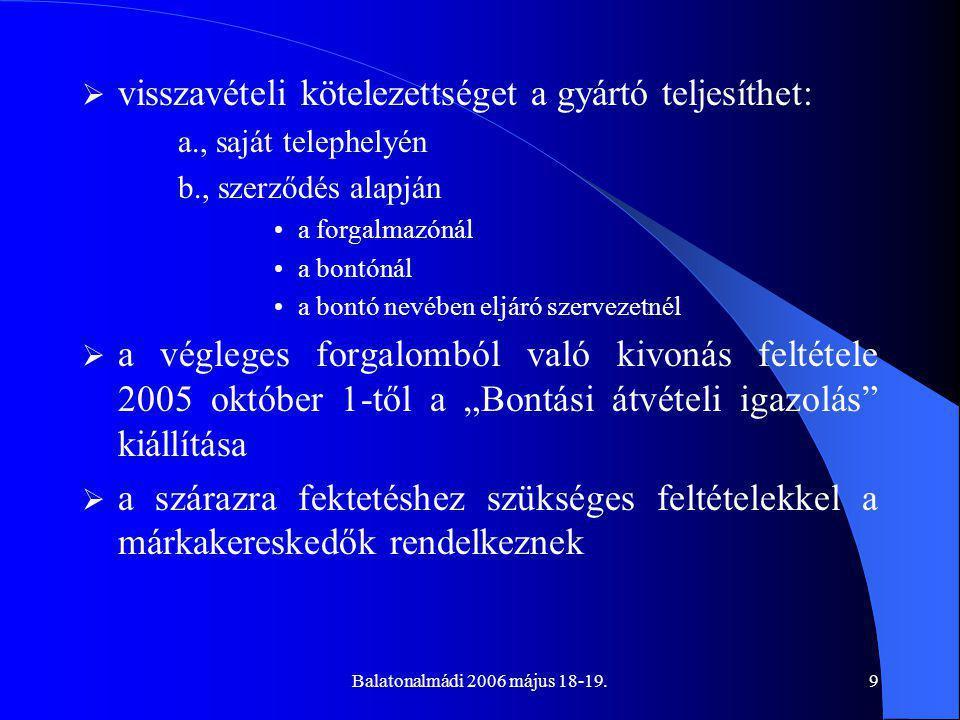 """Balatonalmádi 2006 május 18-19.9  visszavételi kötelezettséget a gyártó teljesíthet: a., saját telephelyén b., szerződés alapján a forgalmazónál a bontónál a bontó nevében eljáró szervezetnél  a végleges forgalomból való kivonás feltétele 2005 október 1-től a """"Bontási átvételi igazolás kiállítása  a szárazra fektetéshez szükséges feltételekkel a márkakereskedők rendelkeznek"""