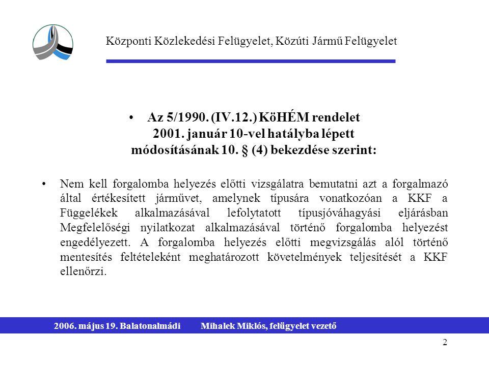 2 2006. május 19. BalatonalmádiMihalek Miklós, felügyelet vezető Az 5/1990. (IV.12.) KöHÉM rendelet 2001. január 10-vel hatályba lépett módosításának