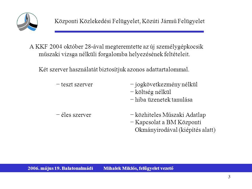 3 2006. május 19. BalatonalmádiMihalek Miklós, felügyelet vezető A KKF 2004 október 28-ával megteremtette az új személygépkocsik műszaki vizsga nélkül