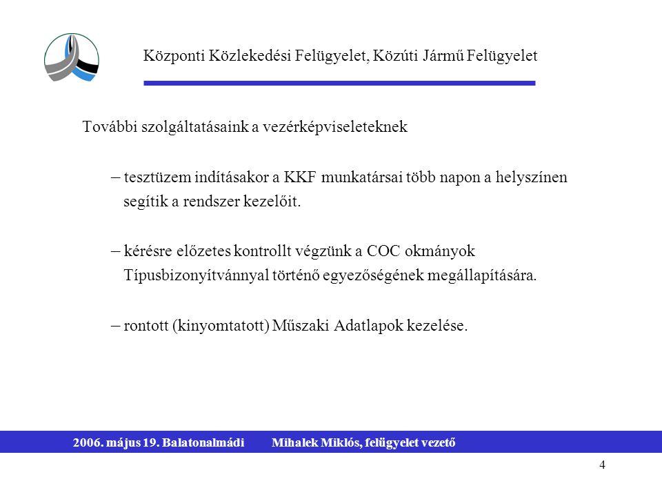 4 2006. május 19. BalatonalmádiMihalek Miklós, felügyelet vezető További szolgáltatásaink a vezérképviseleteknek – tesztüzem indításakor a KKF munkatá