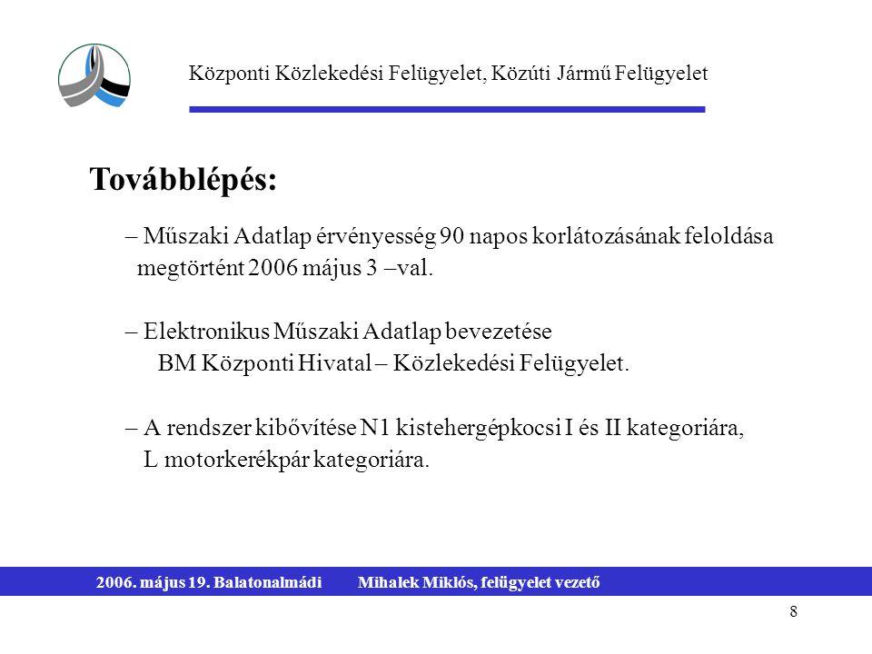 8 2006. május 19. BalatonalmádiMihalek Miklós, felügyelet vezető – Műszaki Adatlap érvényesség 90 napos korlátozásának feloldása megtörtént 2006 május
