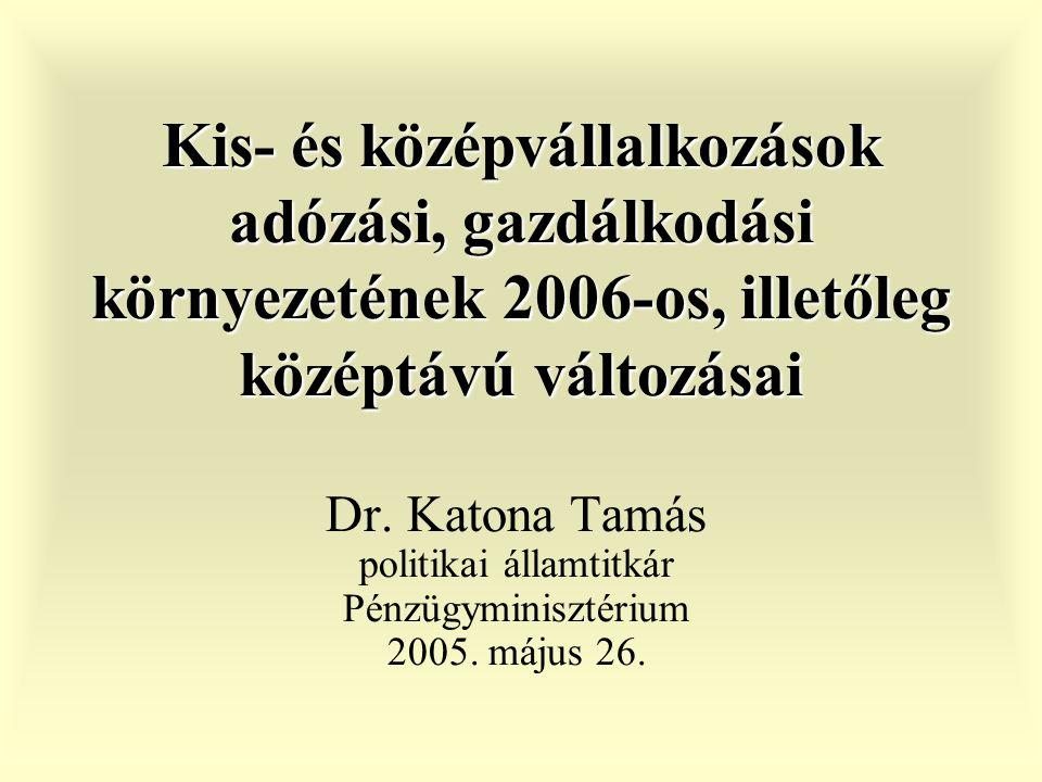 Kis- és középvállalkozások adózási, gazdálkodási környezetének 2006-os, illetőleg középtávú változásai Dr.