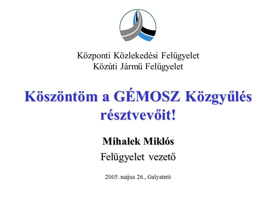 2 2005.május 26., GalyatetőMihalek Miklós, felügyelet vezető Az 5/1990.