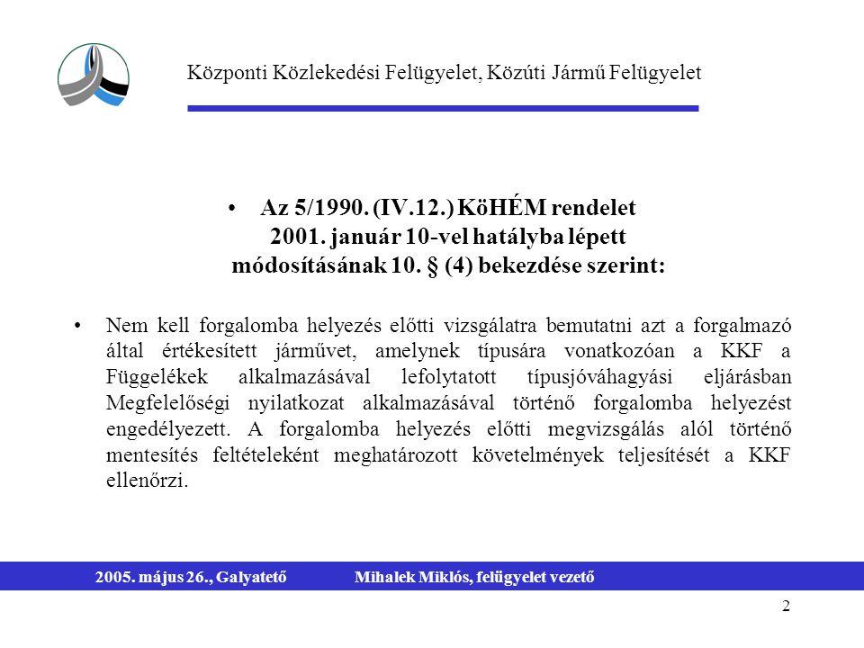 2 2005. május 26., GalyatetőMihalek Miklós, felügyelet vezető Az 5/1990. (IV.12.) KöHÉM rendelet 2001. január 10-vel hatályba lépett módosításának 10.
