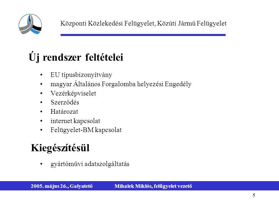 5 2005. május 26., GalyatetőMihalek Miklós, felügyelet vezető EU típusbizonyítvány magyar Általános Forgalomba helyezési Engedély Vezérképviselet Szer