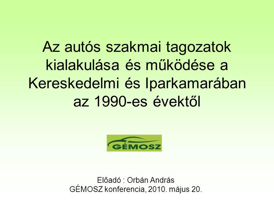 Az autós szakmai tagozatok kialakulása és működése a Kereskedelmi és Iparkamarában az 1990-es évektől Előadó : Orbán András GÉMOSZ konferencia, 2010.