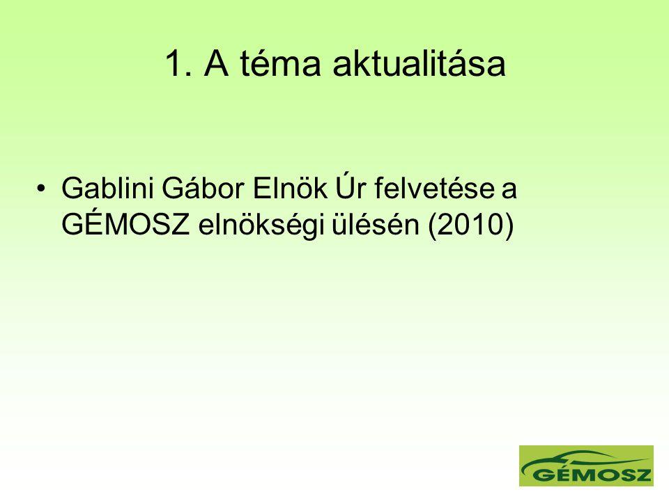 1. A téma aktualitása Gablini Gábor Elnök Úr felvetése a GÉMOSZ elnökségi ülésén (2010)
